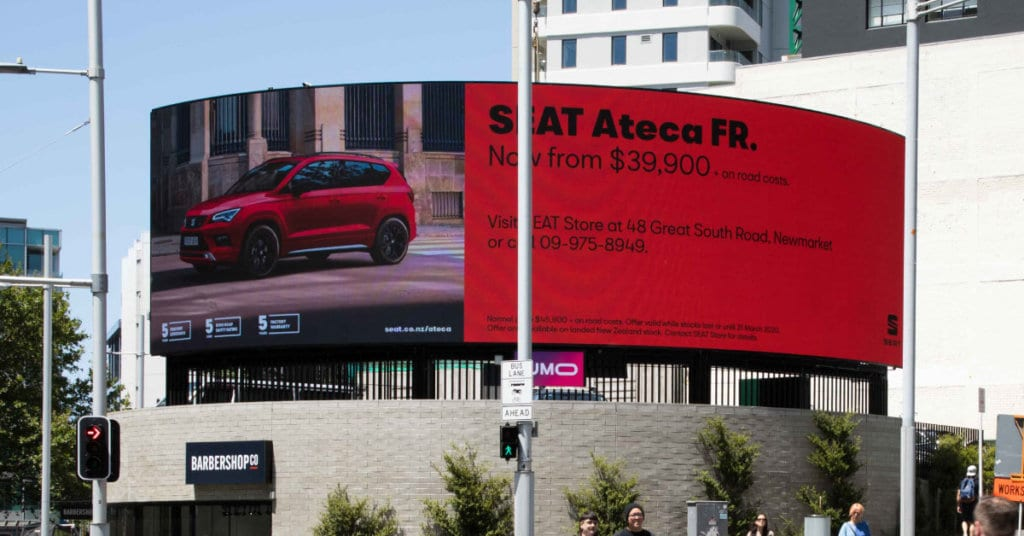 SEAT digital billboard in Auckland