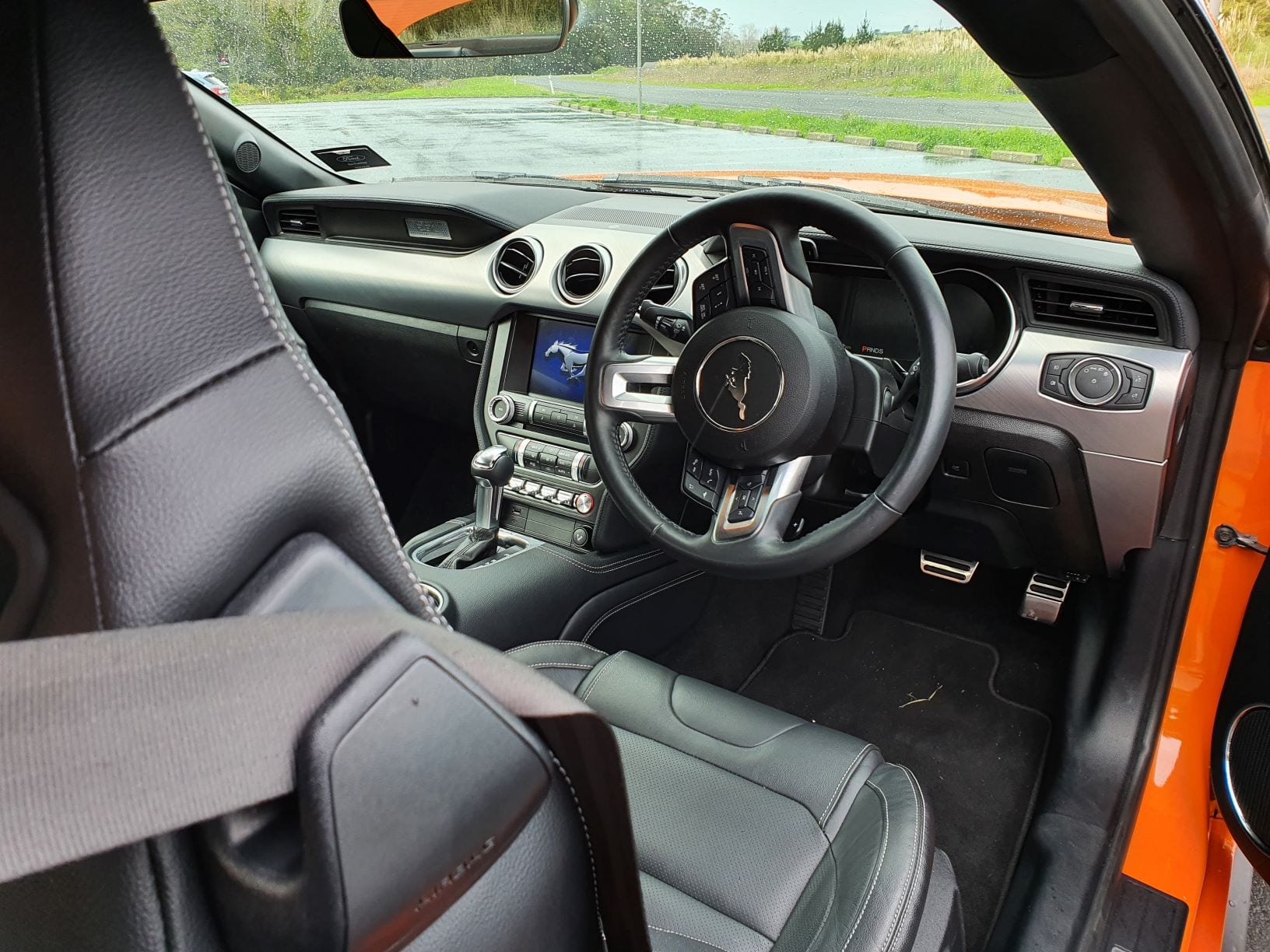 The interior of the Ford Mustang High Performance, an homage to the Mustangs of old.