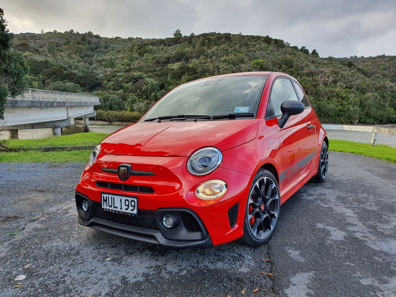 The Abarth 595 by the water