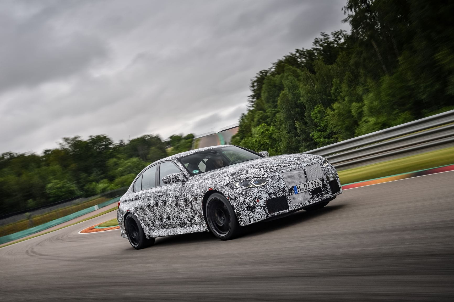 The new BMW M3 being tested under wraps at the Nurburgring.