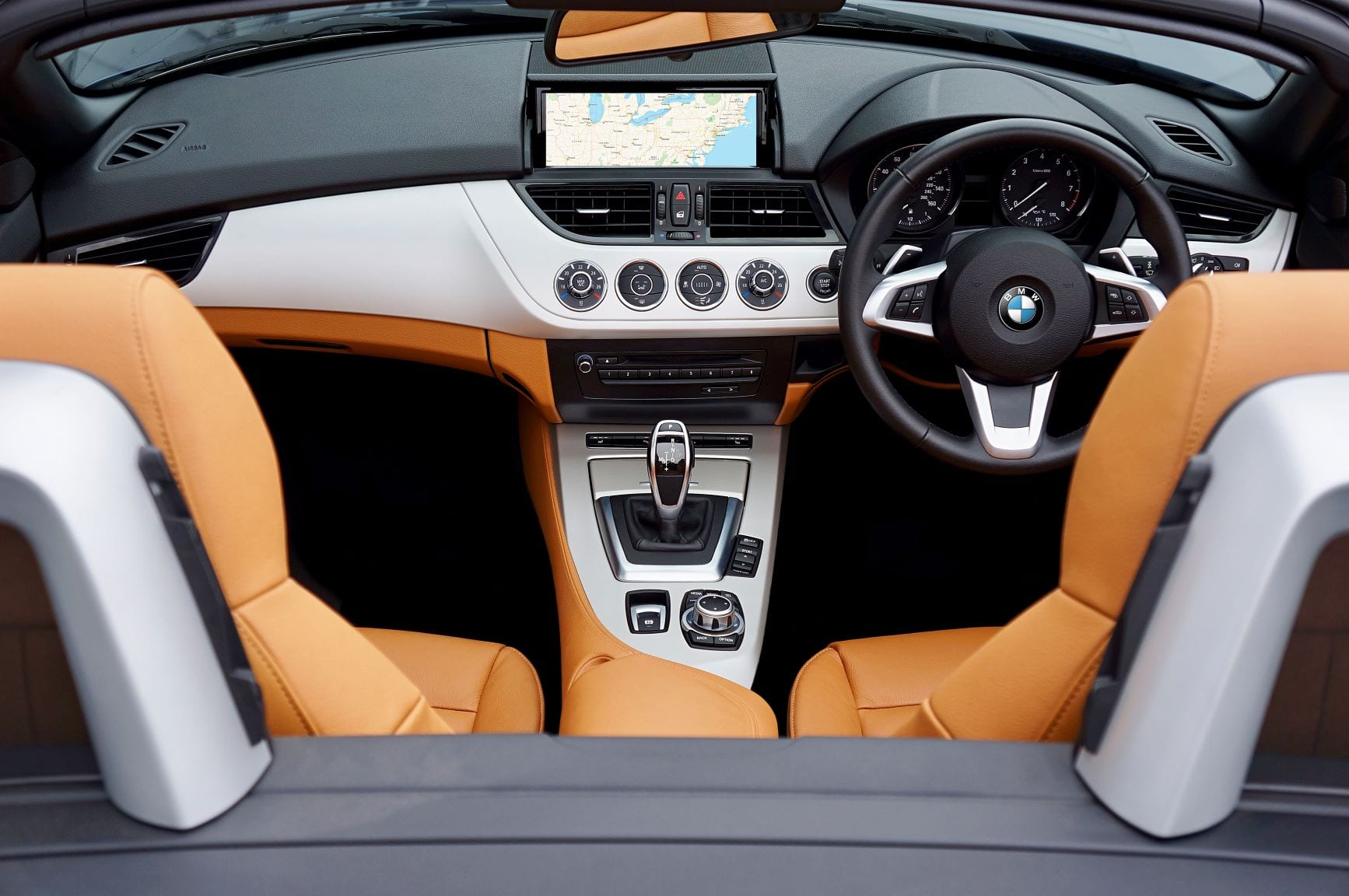 An interior of a BMW convertible