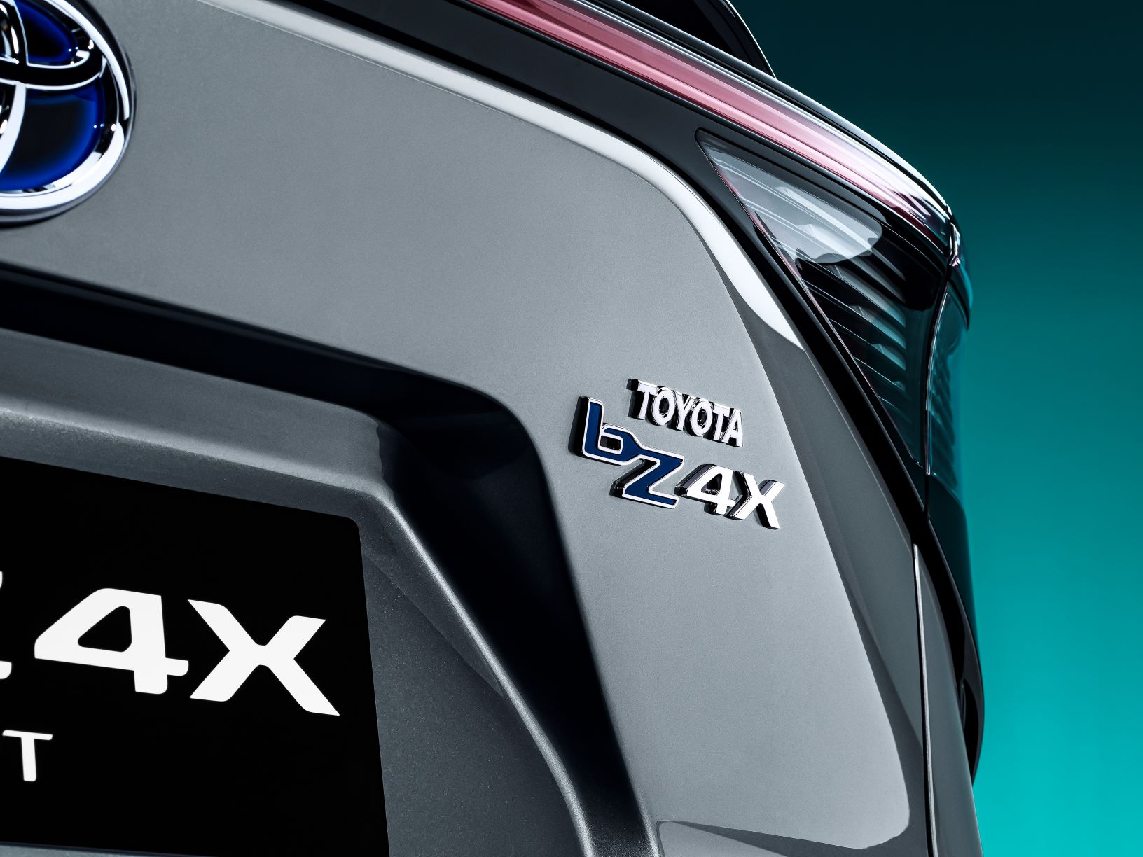 The badge of the Toyota bZ4X