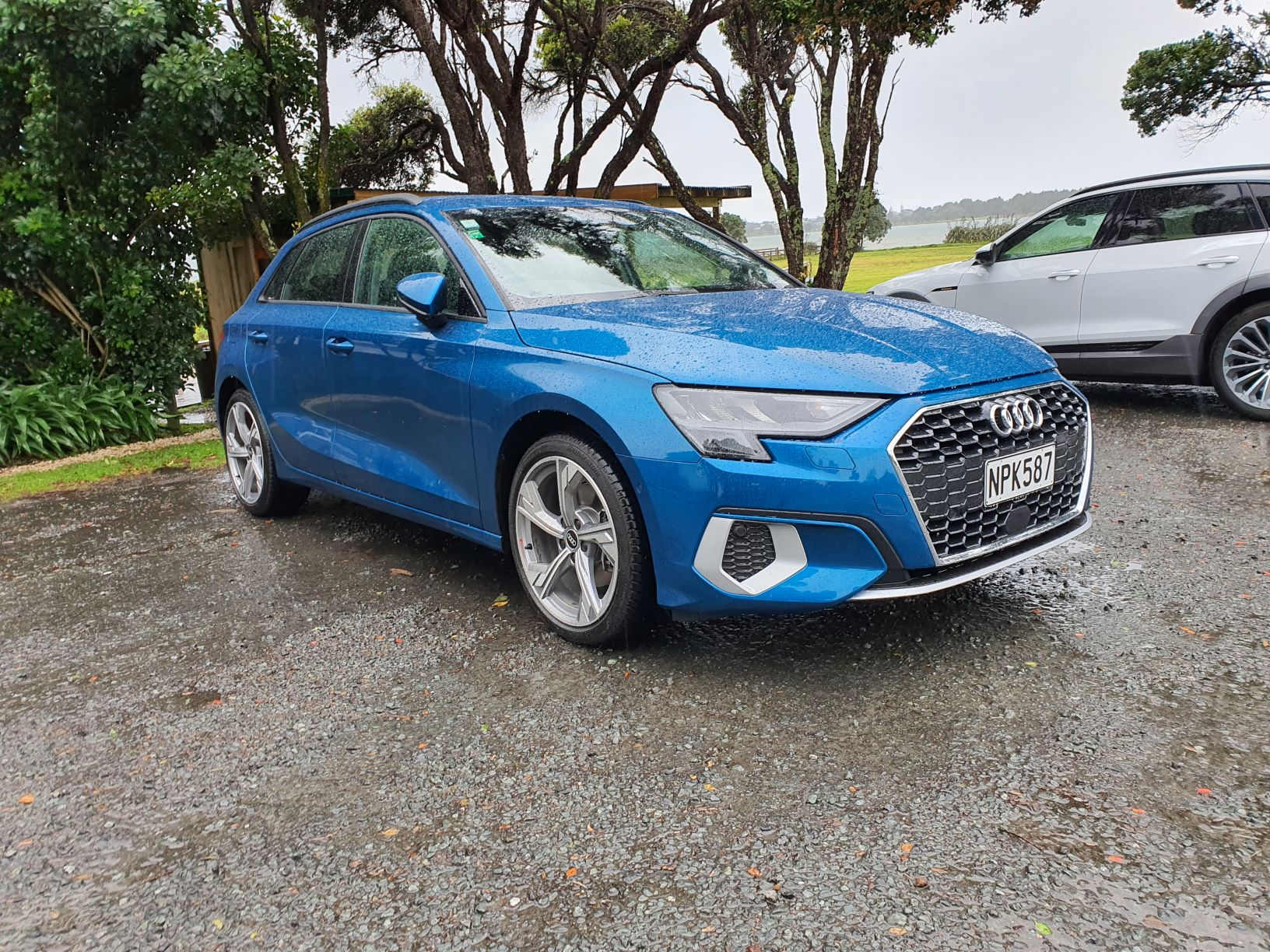 Front view of the 4th generation Audi A3 in Atoll Blue