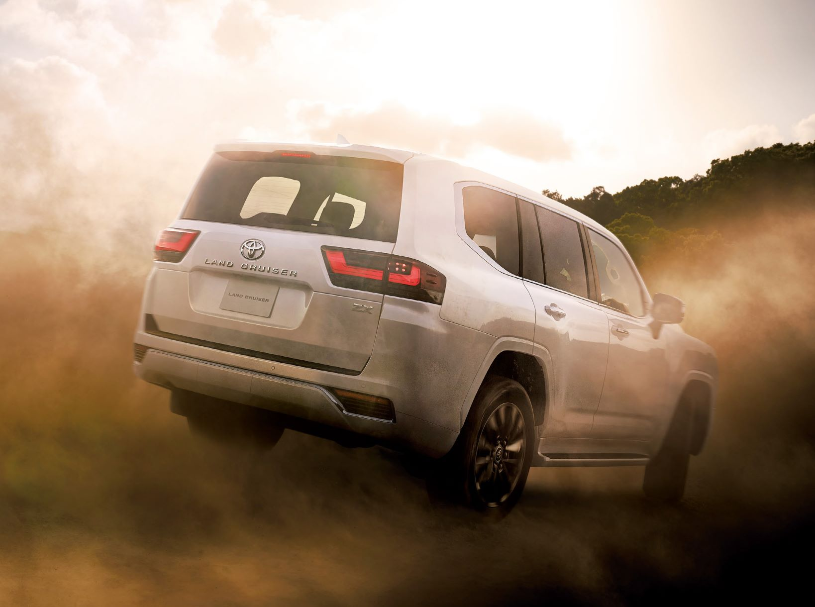 Rear shot of the Toyota Land Cruiser in sand