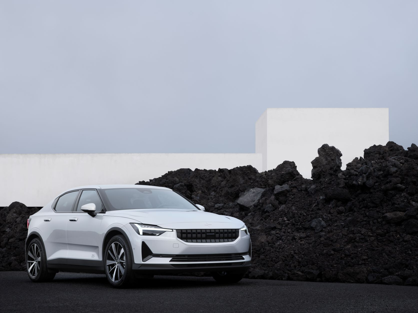 Front three quarter view of the Polestar 2