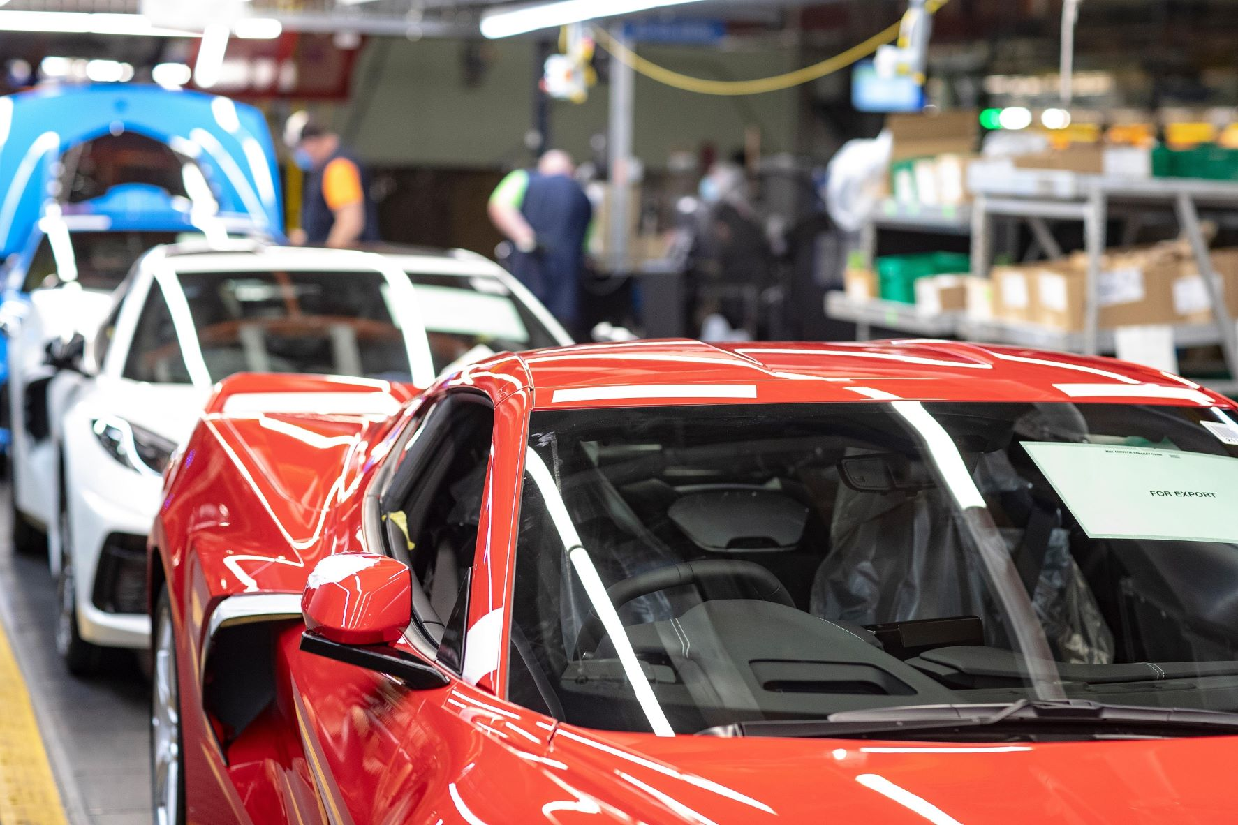 Right hand drive Corvette on the production line