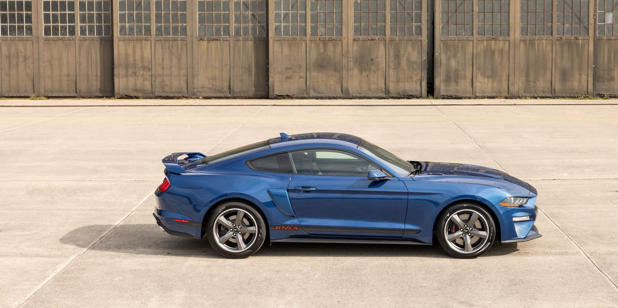 Side view of the 2022 Ford Mustang California Special in Atlas Blue