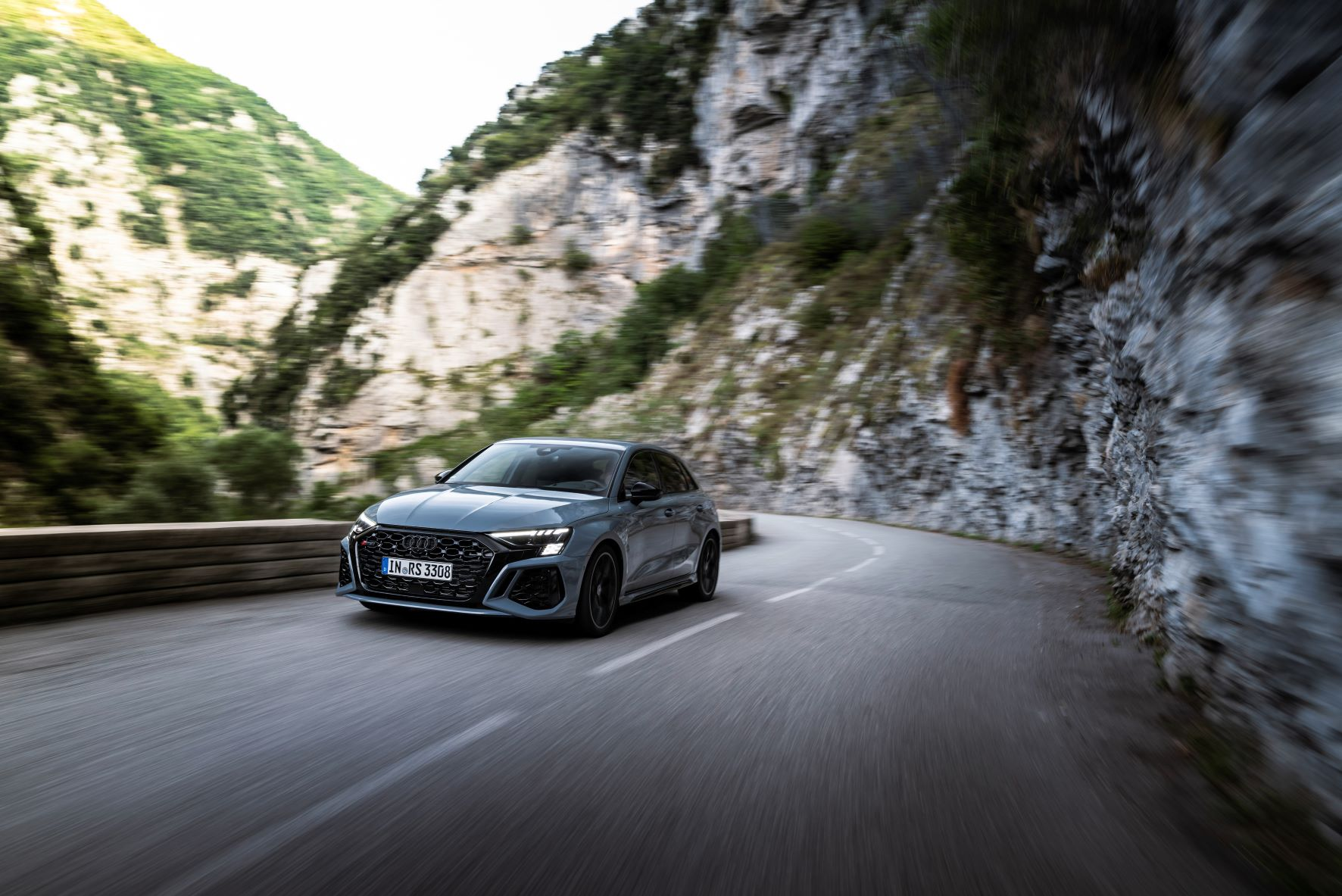 Moving shot of the new Audi RS3 sportback