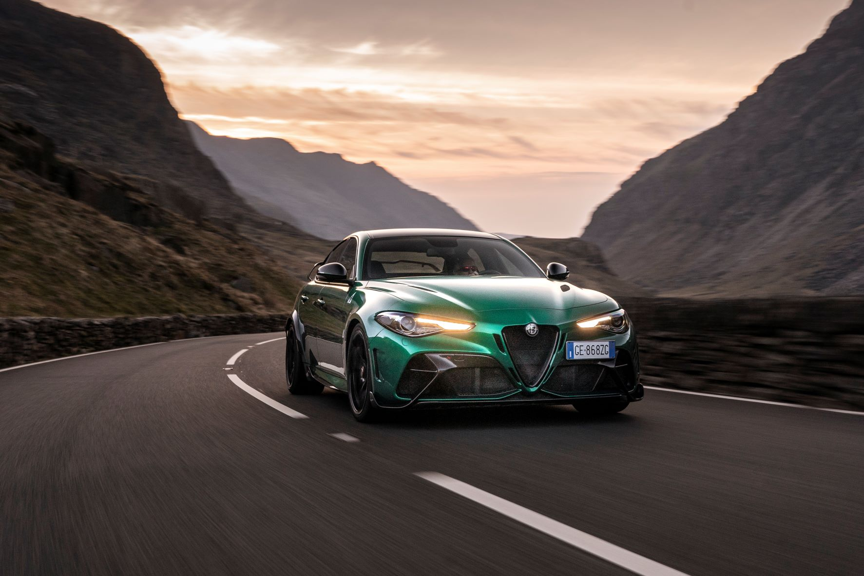 Front view of the Alfa Romeo Giulia GTAm in Montreal Green